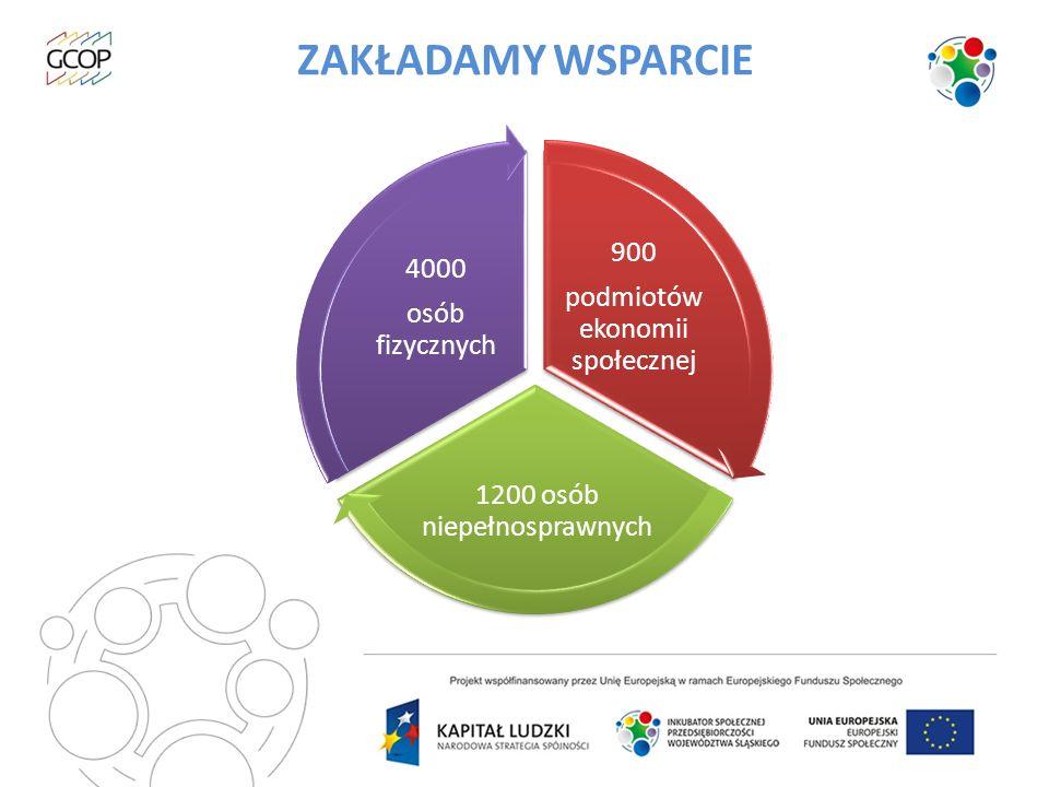 ZAKŁADAMY WSPARCIE 900 1200 osób niepełnosprawnych