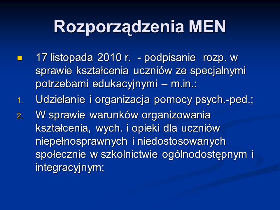 Rozporządzenia MEN 17 listopada 2010 r. - podpisanie rozp. w sprawie kształcenia uczniów ze specjalnymi potrzebami edukacyjnymi – m.in.: