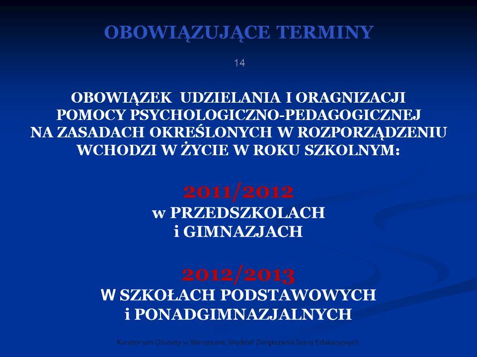 2011/2012 2012/2013 OBOWIĄZUJĄCE TERMINY w PRZEDSZKOLACH i GIMNAZJACH