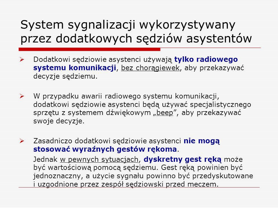 System sygnalizacji wykorzystywany przez dodatkowych sędziów asystentów