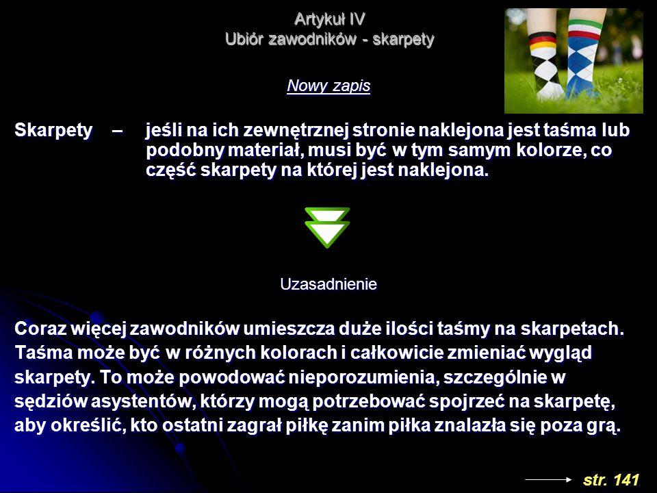 Artykuł IV Ubiór zawodników - skarpety