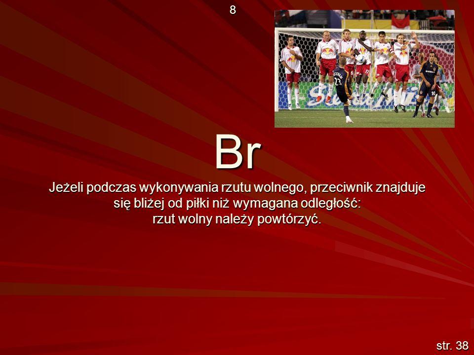 8Br Jeżeli podczas wykonywania rzutu wolnego, przeciwnik znajduje się bliżej od piłki niż wymagana odległość: rzut wolny należy powtórzyć.