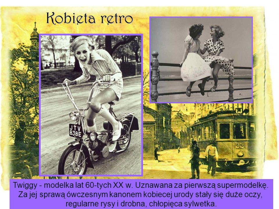 Kobieta retro Twiggy - modelka lat 60-tych XX w. Uznawana za pierwszą supermodelkę.