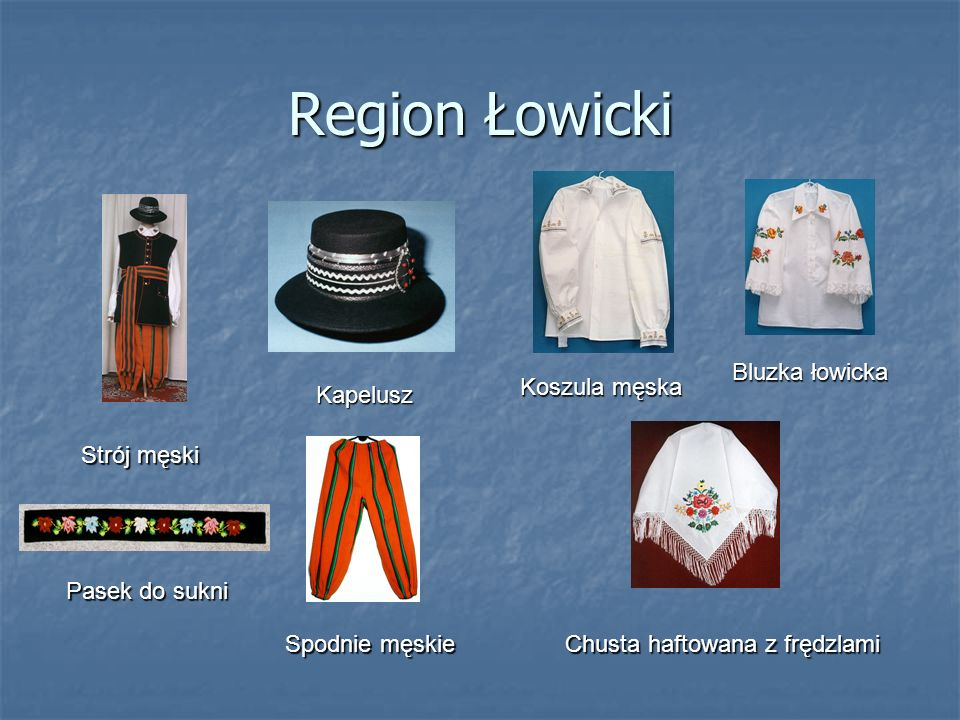Region Łowicki Bluzka łowicka Koszula męska Kapelusz Strój męski