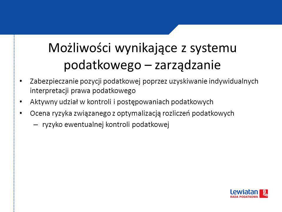 Możliwości wynikające z systemu podatkowego – zarządzanie