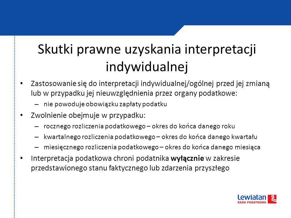 Skutki prawne uzyskania interpretacji indywidualnej