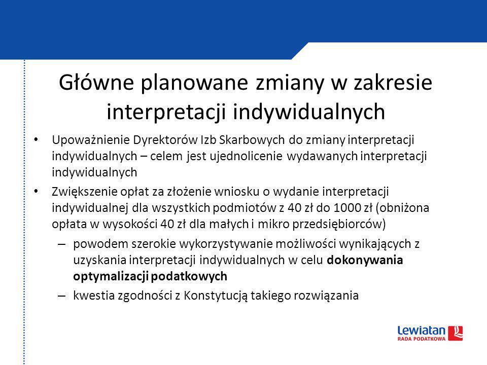 Główne planowane zmiany w zakresie interpretacji indywidualnych