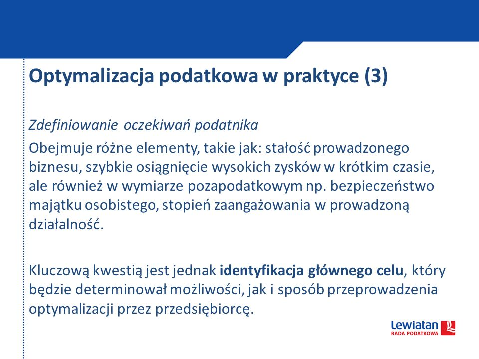 Optymalizacja podatkowa w praktyce (3)
