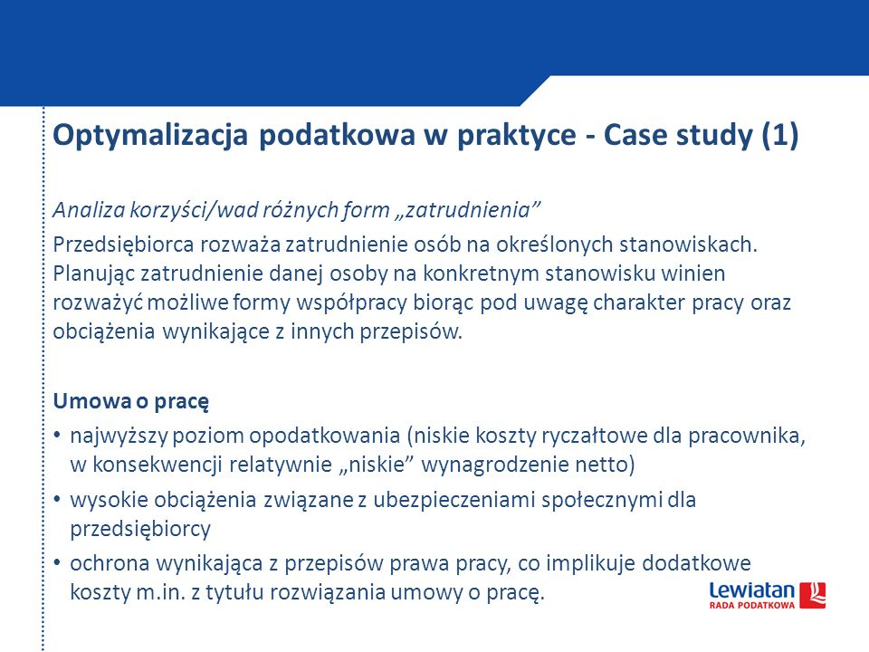 Optymalizacja podatkowa w praktyce - Case study (1)