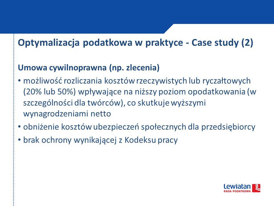 Optymalizacja podatkowa w praktyce - Case study (2)