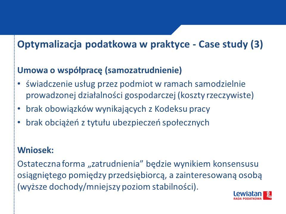Optymalizacja podatkowa w praktyce - Case study (3)