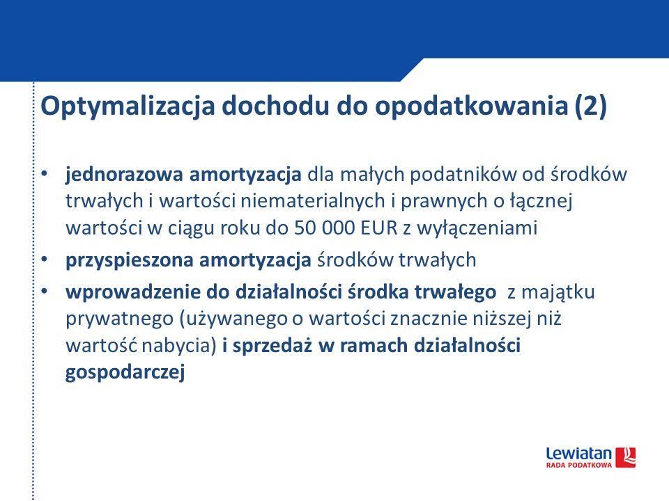 Optymalizacja dochodu do opodatkowania (2)