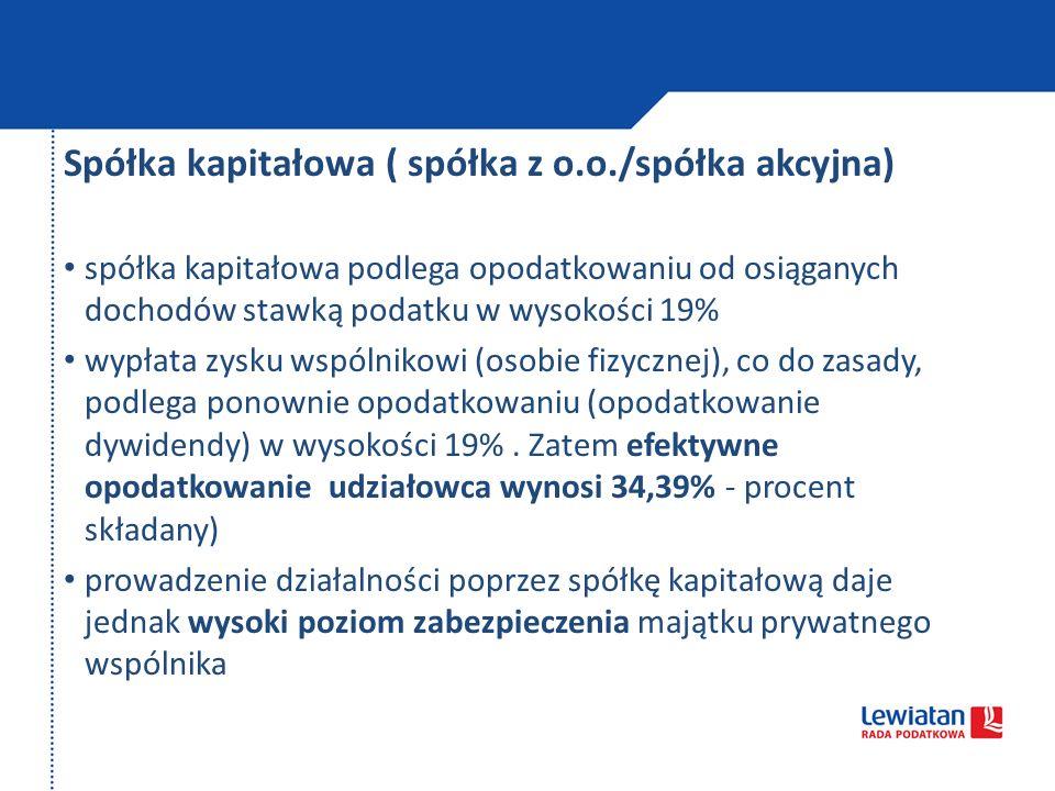 Spółka kapitałowa ( spółka z o.o./spółka akcyjna)