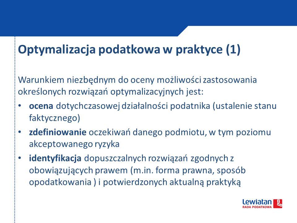 Optymalizacja podatkowa w praktyce (1)