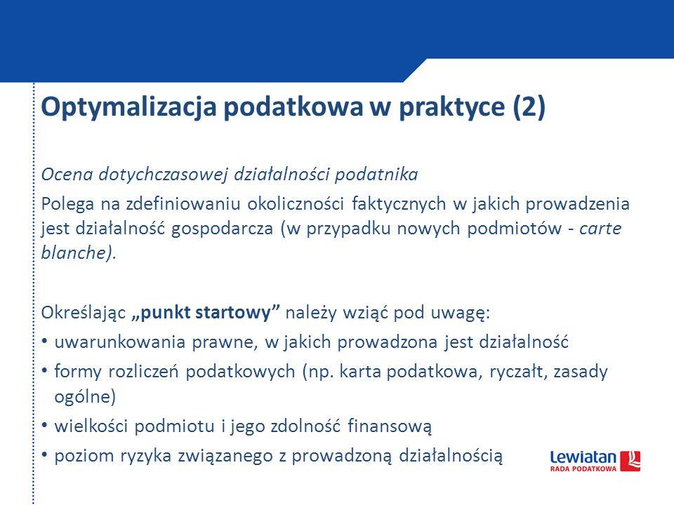 Optymalizacja podatkowa w praktyce (2)