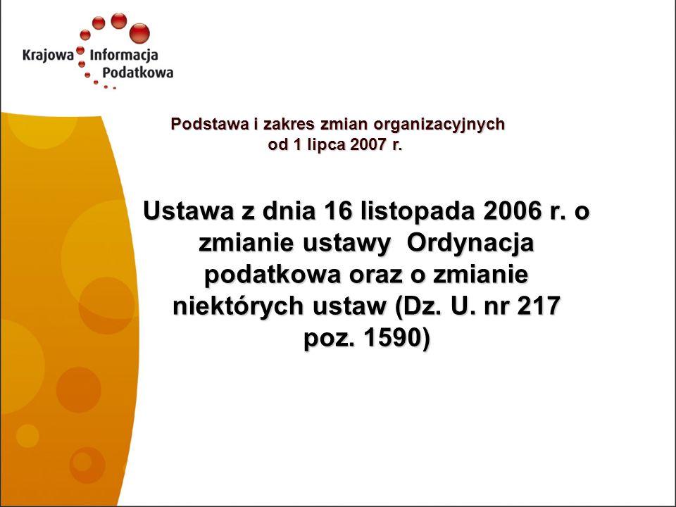 Podstawa i zakres zmian organizacyjnych od 1 lipca 2007 r.