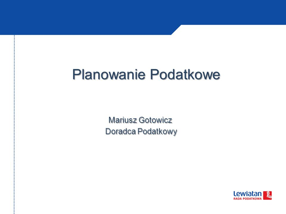 Mariusz Gotowicz Doradca Podatkowy