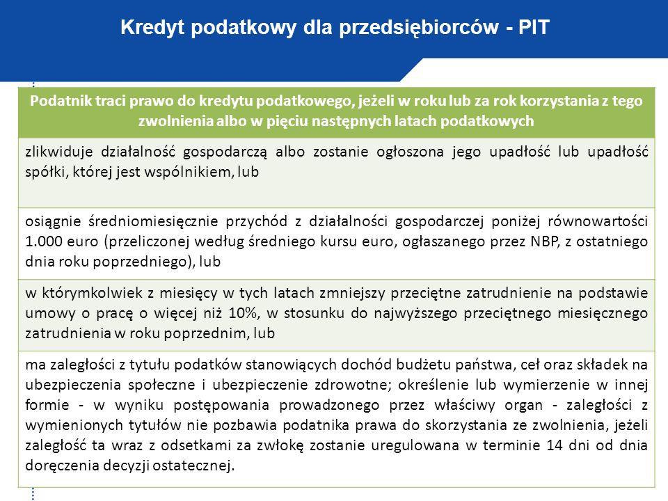 Kredyt podatkowy dla przedsiębiorców - PIT