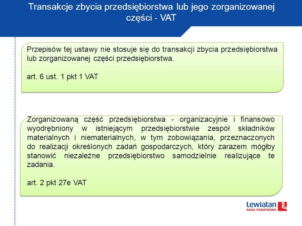 Transakcje zbycia przedsiębiorstwa lub jego zorganizowanej części - VAT
