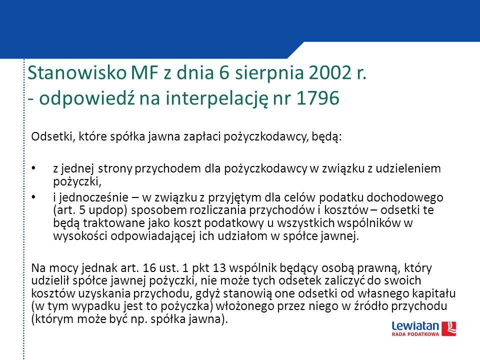 Stanowisko MF z dnia 6 sierpnia 2002 r