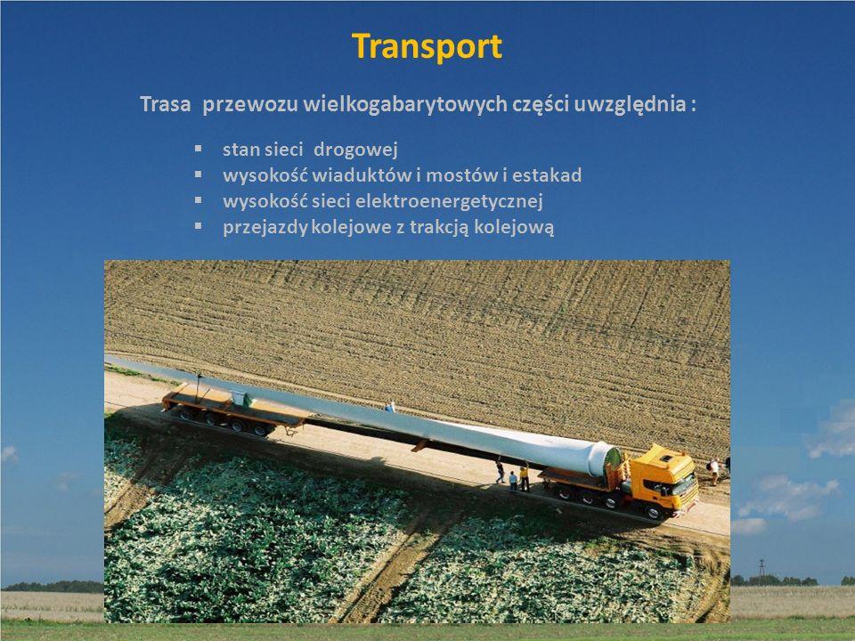 Transport Trasa przewozu wielkogabarytowych części uwzględnia :