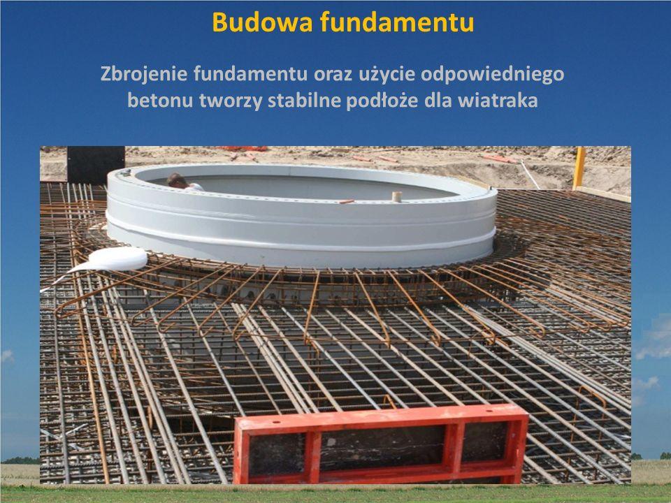 Budowa fundamentu Zbrojenie fundamentu oraz użycie odpowiedniego betonu tworzy stabilne podłoże dla wiatraka.