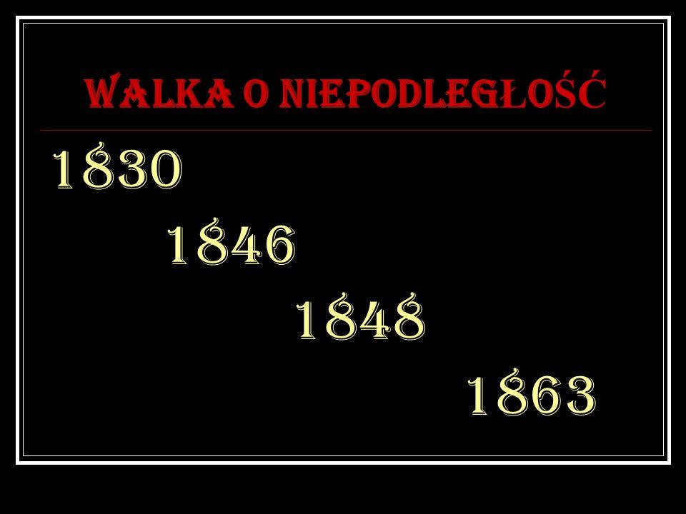 WALKA O NIEPODLEGŁOŚĆ 1830 1846 1848 1863