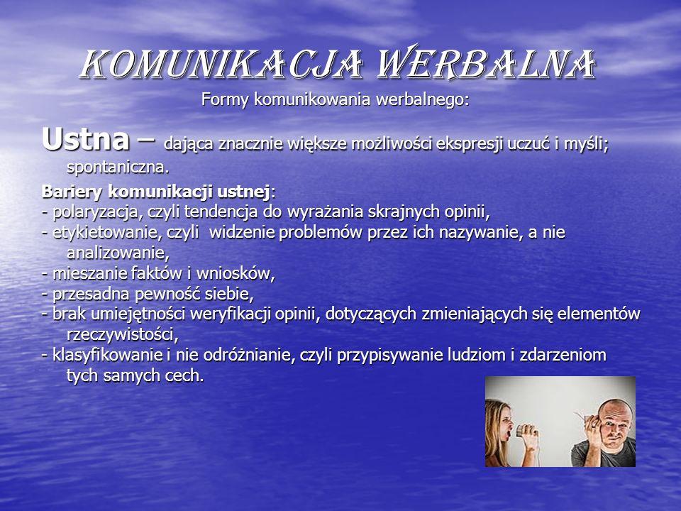 Komunikacja werbalna Formy komunikowania werbalnego: