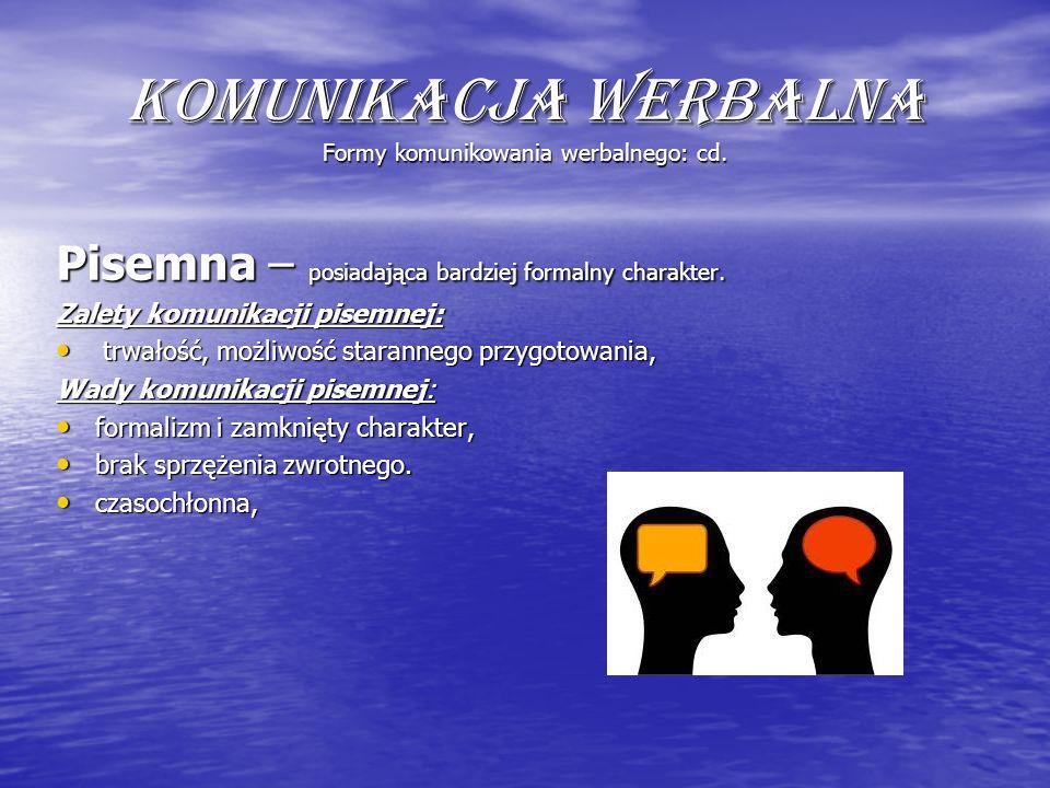 Komunikacja werbalna Formy komunikowania werbalnego: cd.