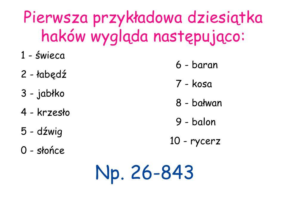 Pierwsza przykładowa dziesiątka haków wygląda następująco: