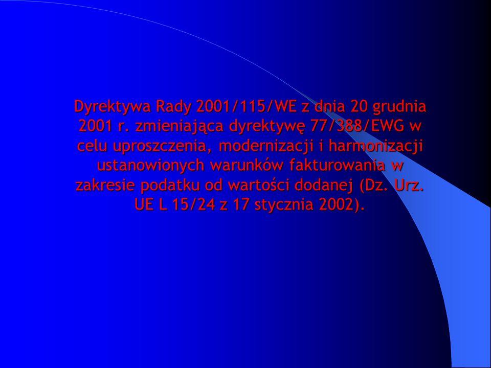 Dyrektywa Rady 2001/115/WE z dnia 20 grudnia 2001 r