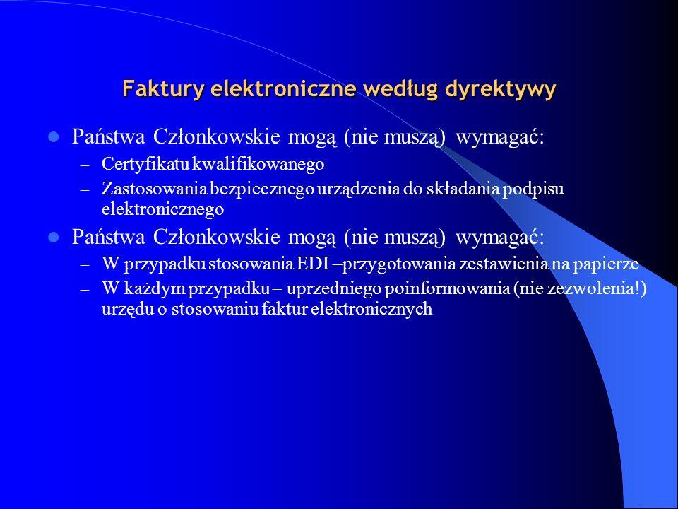 Faktury elektroniczne według dyrektywy