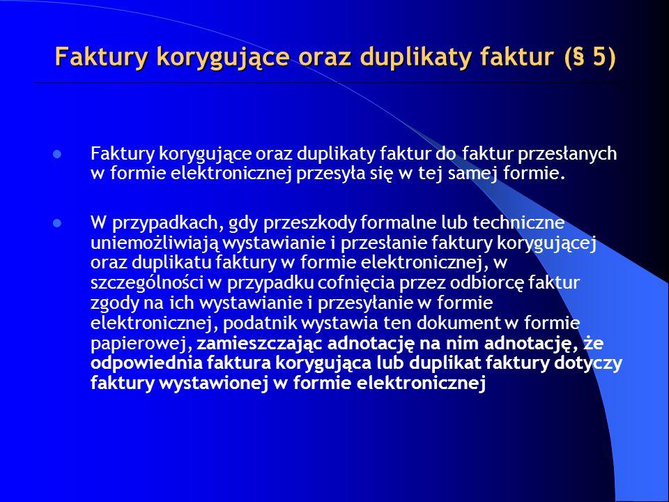 Faktury korygujące oraz duplikaty faktur (§ 5)