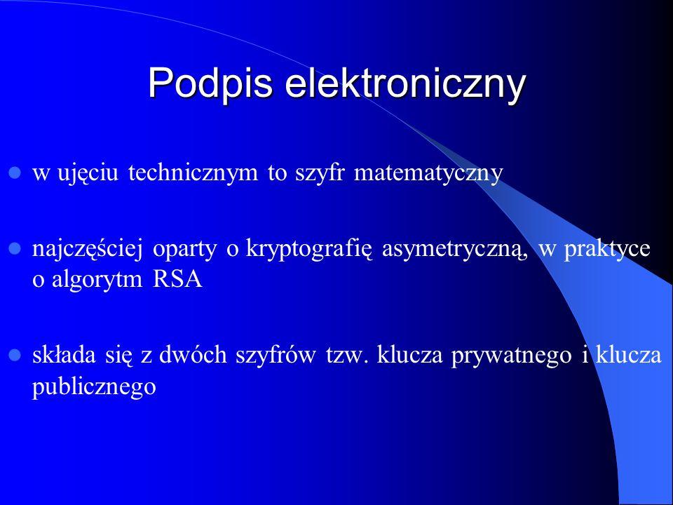 Podpis elektroniczny w ujęciu technicznym to szyfr matematyczny