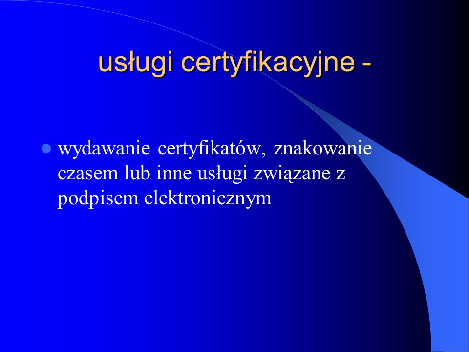 usługi certyfikacyjne -