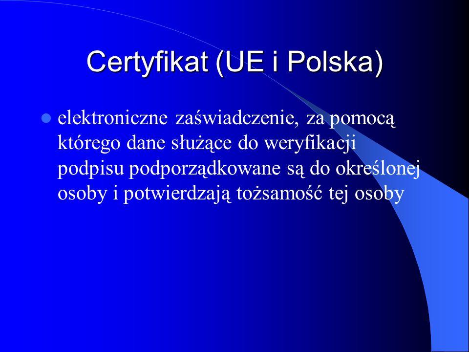 Certyfikat (UE i Polska)