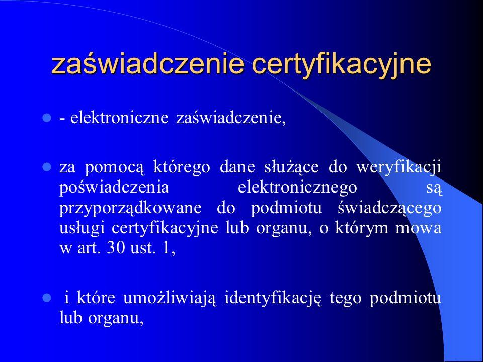 zaświadczenie certyfikacyjne