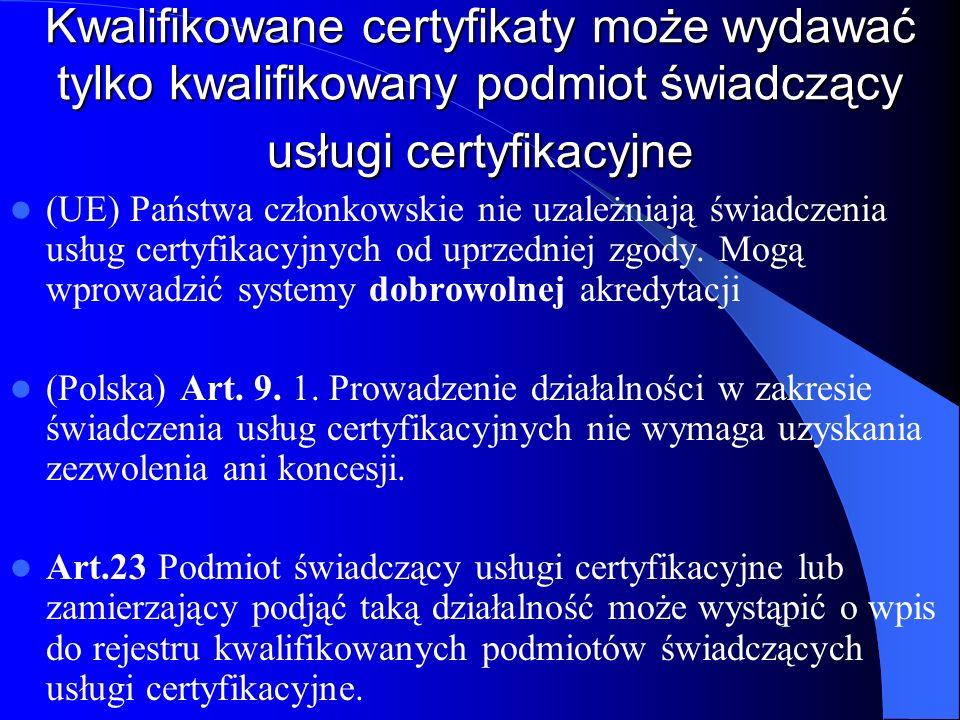 Kwalifikowane certyfikaty może wydawać tylko kwalifikowany podmiot świadczący usługi certyfikacyjne