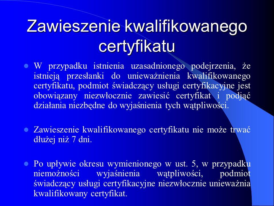 Zawieszenie kwalifikowanego certyfikatu