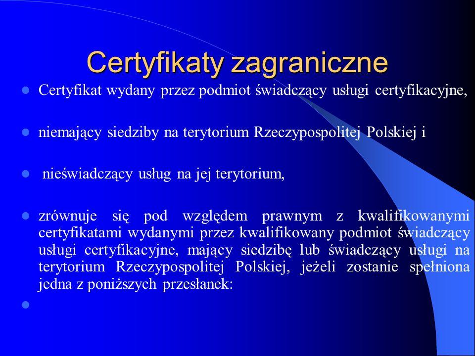Certyfikaty zagraniczne