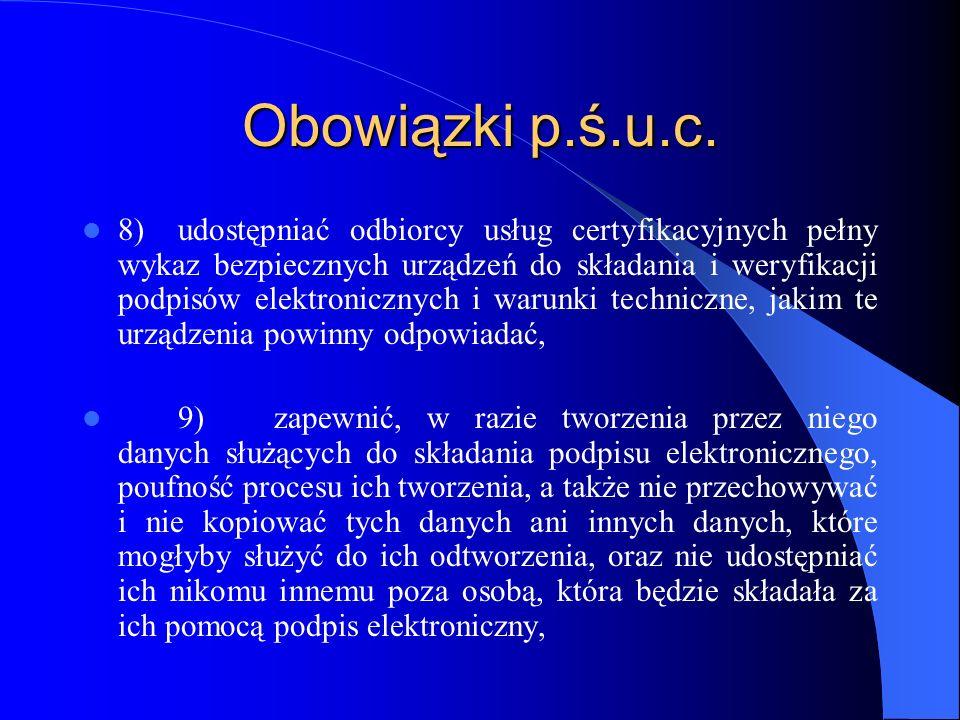Obowiązki p.ś.u.c.