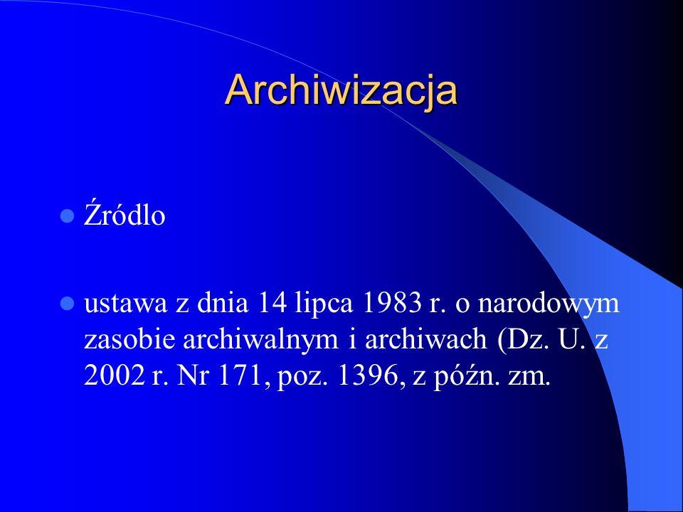 Archiwizacja Źródlo. ustawa z dnia 14 lipca 1983 r.