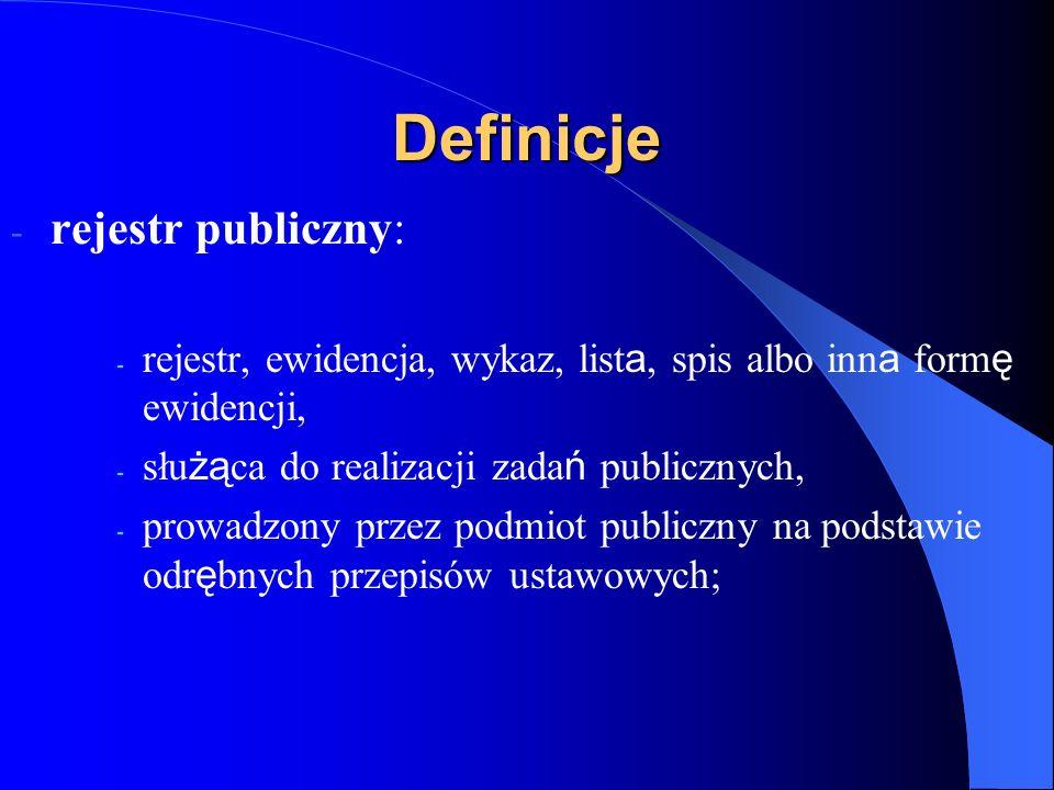 Definicje rejestr publiczny: