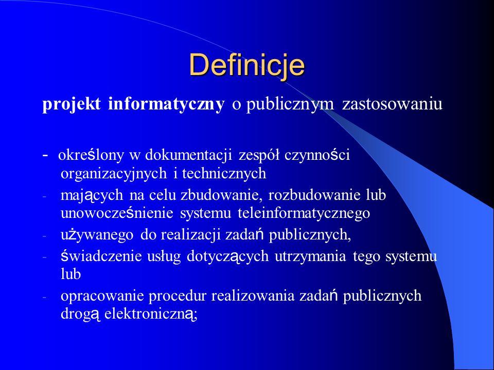 Definicje projekt informatyczny o publicznym zastosowaniu