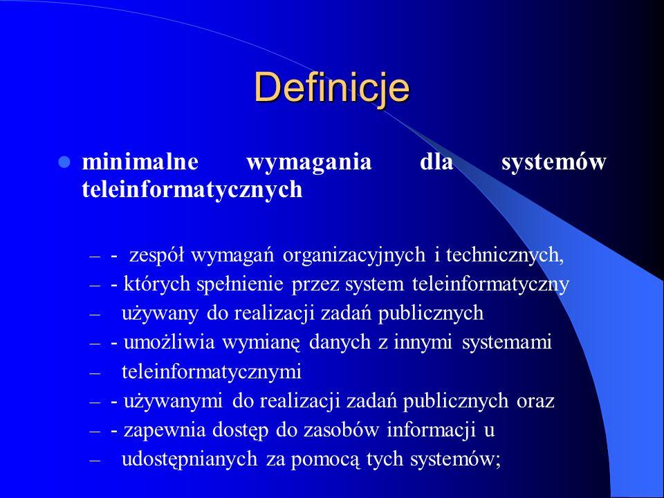 Definicje minimalne wymagania dla systemów teleinformatycznych