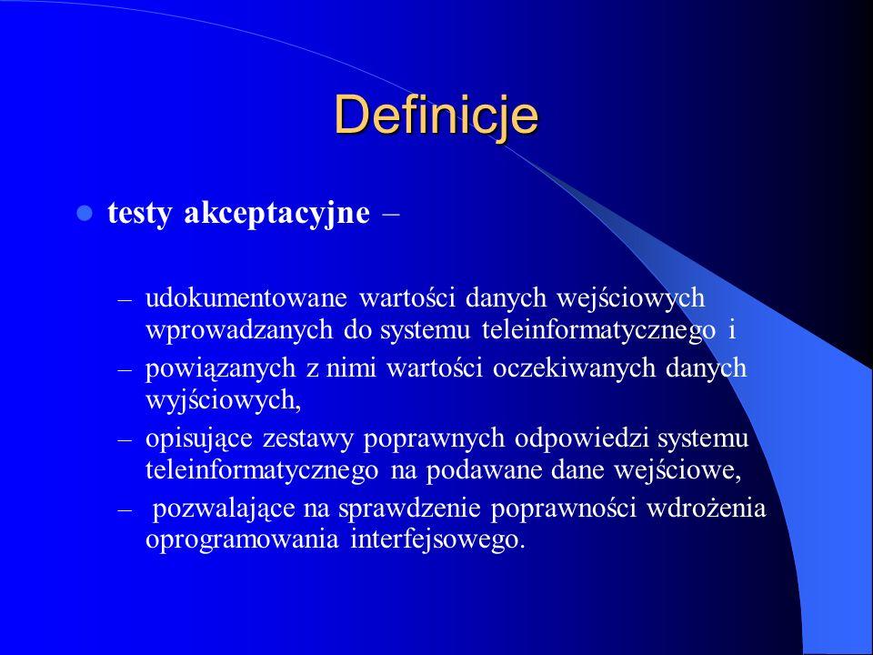 Definicje testy akceptacyjne –