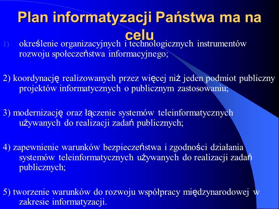 Plan informatyzacji Państwa ma na celu