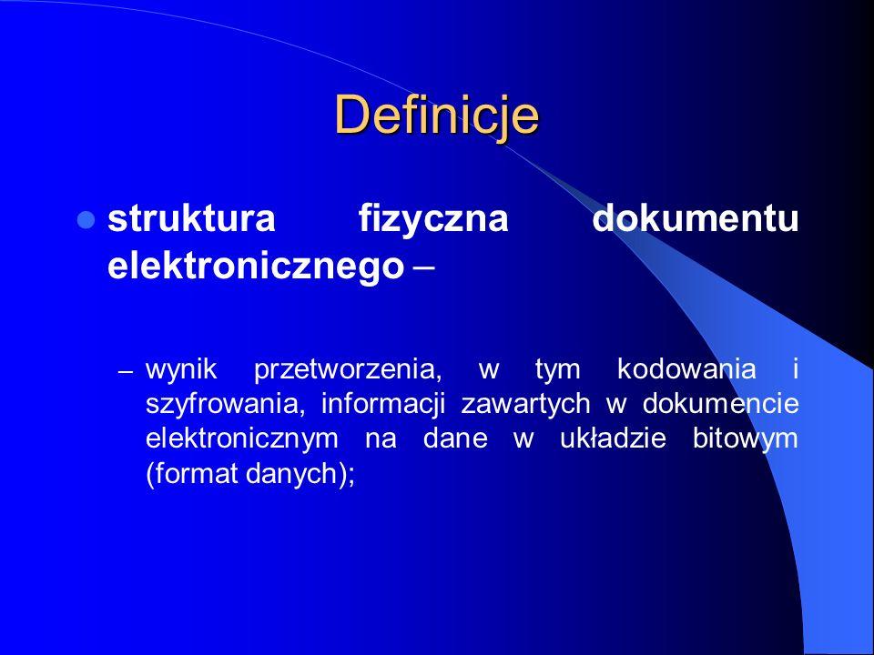 Definicje struktura fizyczna dokumentu elektronicznego –