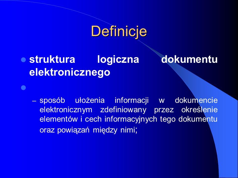Definicje struktura logiczna dokumentu elektronicznego