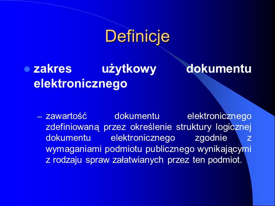 Definicje zakres użytkowy dokumentu elektronicznego